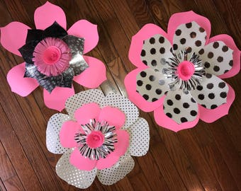 3 pc Pink and Silver Paper flowers