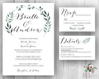 Green Floral Watercolor Wedding Set Printable Invitation