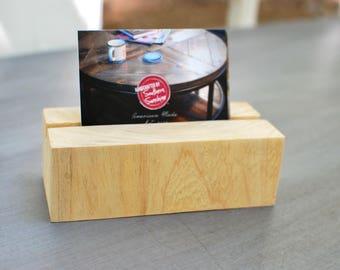 Business Card Holder, Wood Business Card Holder, Natural Wood, Office Decor, Desk Decor, Card Holder, Business Card Display - FREE Ship