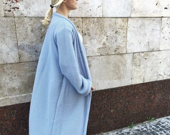 Blue coat Wool knit coat knit long cardigan bohemian cardigan women outwear oversize cardigan long women coat long knit cardigan