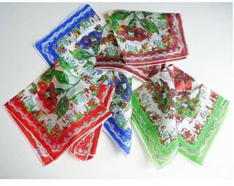 4 Hankies chiffon silk floral bright colors Fifties transparent flowers red blue bordeaux green
