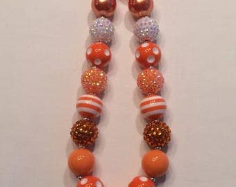 Girls chunky bubblegum necklace orange