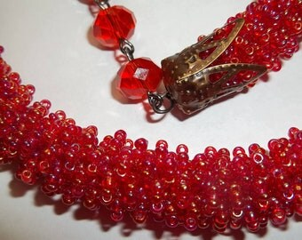 Beaded red or black necklace