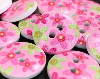 6 Pink Floral Wooden Buttons