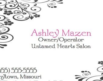 Instant Download Printable Business Card Feminine Girly