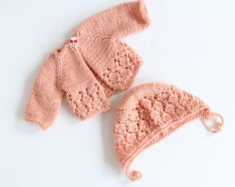 Cardigan with cap for 35 cm doll