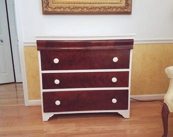 White and Burl Walnut Dresser
