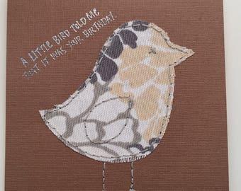 """Hand-stitched """"Little Bird"""" Birthday Card"""
