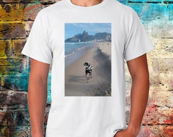 Rio Tshirt, brazil tee, dalmatian, dog shirt, beach shirt, DJ, photography print, worldwide shipping