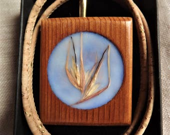 Kangaroo Grass Encaustic Beeswax brooch/pendant and convertor with eco friendly cork cord natural  and sustainably created jewellery.