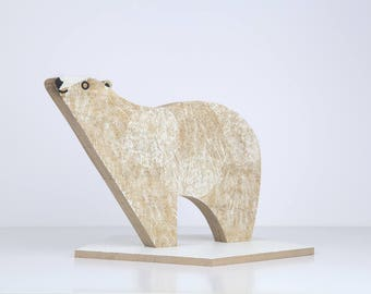 Polar bear on his ice silkscreen on wood / Edwood / decorative object