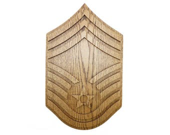 AIR FORCE E9 Rank Plaque Chief Master Sergeant CMSgt Carved Wall Wooden Military Stripes Chevron Promotion Retirement Gift