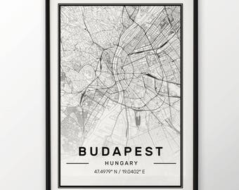 Budapest City Map Print, Modern Contemporary poster in sizes 50x70 fit for Ikea frame All city available London, New york Paris Madrid Rome