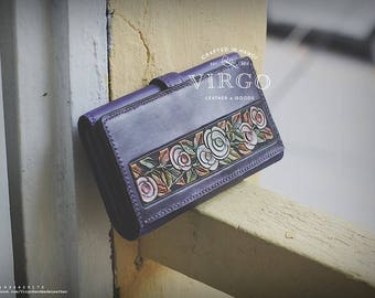 vintage colorful flower hand tooled and carved wallet