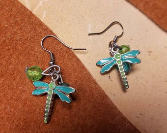 Blue and green dragonfly earrings