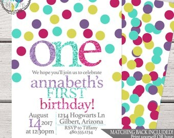 Birthday Party Invitation | First Birthday Invitation | Second Birthday Invitation | Glitter Birthday Invitation | Birthday Invitation Girl