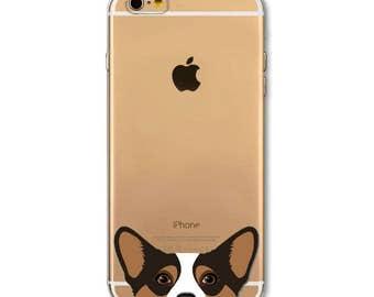 Cute Corgi iPhone 6 6S 6+ Plus Clear Welsh Corgi Dog Soft Transparent Sable Tan Brown Tricolor Black White Peeking Dog Phone Case