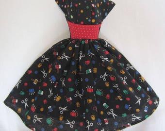 Barbie doll clothes handmade dress Sewing print
