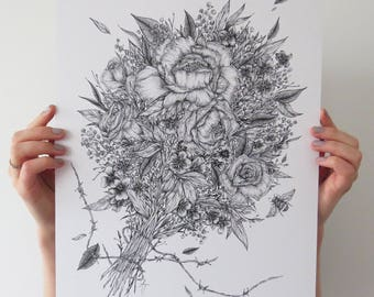 Bouquet Print A3 Fineliner