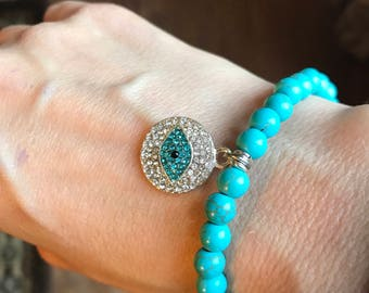 Gorgeous blue evil eye with rhinestones connector stretch bracelet