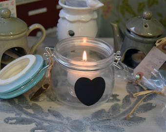 Pastel Heart Jar Tealight Holder