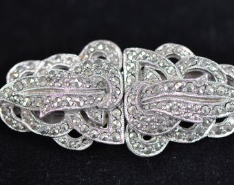 Vintage Art Deco Coro Duette Silver Marcasite Brooch Dress Clips c.1930s