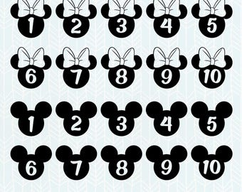 Mickey Mouse Numbers SVG Files, Mickey Mouse dxf, Minnie svg, png, eps, Silhouette Studio, Cut File