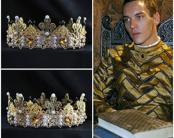 GOLD Tudor Crown, male crown, Mens Renaissance Tiara, Medieval Crown, Renaissance Jewelry, Tudor Crown, Headpiece, Headdress, Medieval Tiara
