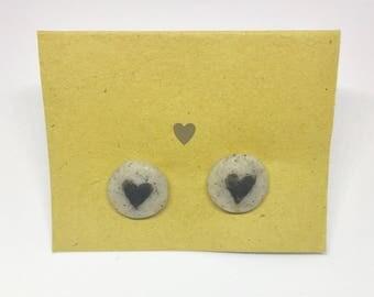 Heart granite polymer clay stud earring