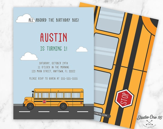 Bus Party Invitation Bus Birthday Invitation School Bus
