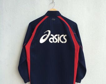 Vintage 90's Asics Training Zipper Jacket Big Logo