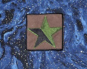 Green-Anarchy Star Embroidered Patch - Eco-Anarchism - Environmental Anarchy Anarchist Punk Patch  - Green and Black on Canvas