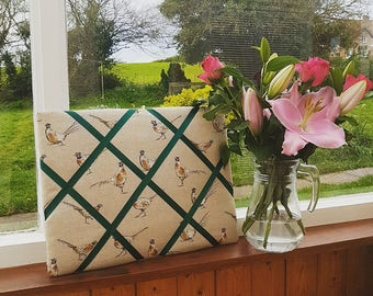 Handmade Linen Fabric Padded Notice Board - Pheasants with Green Ribbon