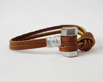Men's Brown Leather Bracelet