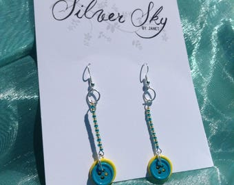Button Seed Bead Dangle Earring Blue and Yellow Nickel Free