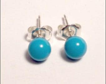 Turquoise - 4mm Round Studs Earrings - Sterling Silver