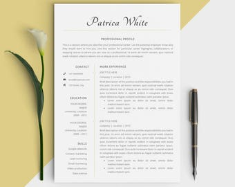 professional job resume template modern personal cv design easy instant download for word