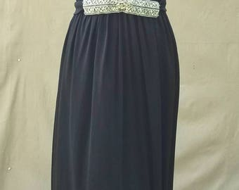 Stunning jeweled sequin evening gown 1940s inspired black polyester floor length * FREE SHIPPING*
