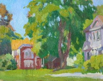 Original 6x8 Oil Painting Neighborhood Summer Impressionist Painting New England Architecture Small Painting Plein Air Landscape Art NE NH