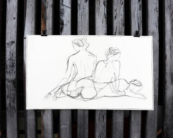 "Original nude art, nude drawing ""Rest"" / coal"