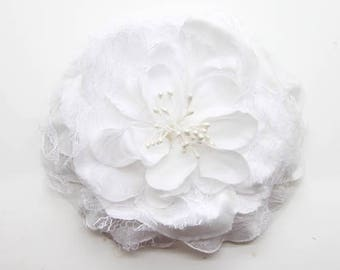 2 White Big Lace Flower Hair Clips Brooches 10cm
