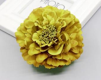 2 Dark Yellow Peony Big Flower Hair Clips Brooches 10cm