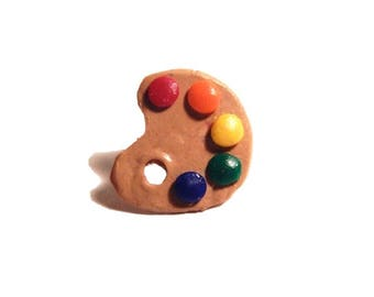 Art Paint Palette Pin - Lapel Pin - Clay Brooch
