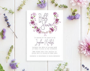 Printable Bridal Shower Invitation | Watercolour Floral Style | Bridal Shower Invitation | DIY Printable Invitation | Verbana