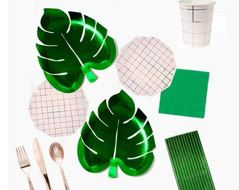 Tropical Party in a BOX KIT Party Plates  Palm Leaf party plates party paper plates Tropical Party Palmleaf PlatesParty KitParty box  sc 1 st  Etsy Studio & 8 palm paper plates from mapetitefete on Etsy Studio