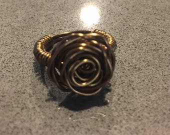 Brass wire wrapped rose ring, Size 4.5