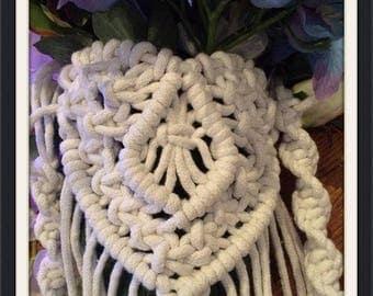 Boho heart shaped macrame bouquet wrap