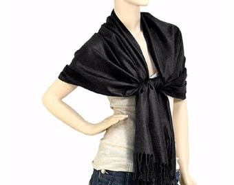 Black pashmina,black scarf, Pashmina shawl, Pashmina scarf ,Bridesmaid gifts, Wedding favor, Pashmina, clothes, scarf, gifts, women clothes