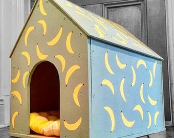 Handmade dog house, quirky dog bed with banana design, reclaimed wood, hand painted, non toxic, upcycled, indoor dog house, indoor kennel