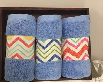 Decorative Face Towel Blue with Cheveron Patern